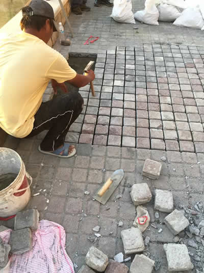 屏東墾丁H會館-麵包磚鋪貼-屏東民宿翻修